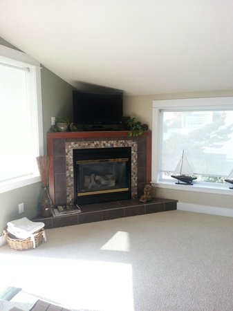 Nelscott Manor: Living room, gas fireplace