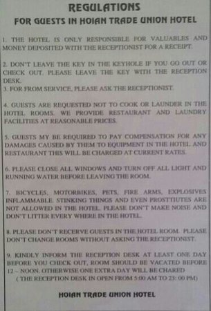 Hoian Trade Union Hotel: regulations