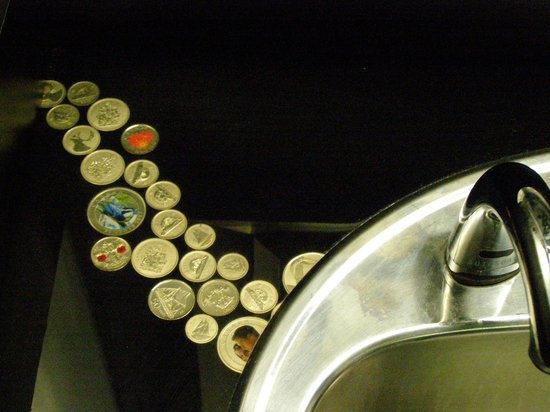 Royal Canadian Mint : Women's restroom/washroom sink counter with embedded coins