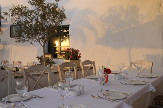 Thea Restaurant Wine Club: Summer evening on the back side terrace by the sea