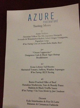 Azure Restaurant: Tasting Menu