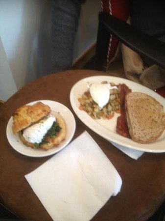 Morsels: breakfast muffin with kale and the egg with vegetable hash.  delicious
