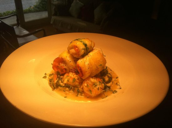 O' Neills Bistro: Brill Stuffed with Smoked Salmon, Seafood Risotto, Herb Oil