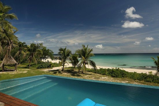 Yasawa Island Resort and Spa: View from the bure, with pool and beach. The best view in the world!