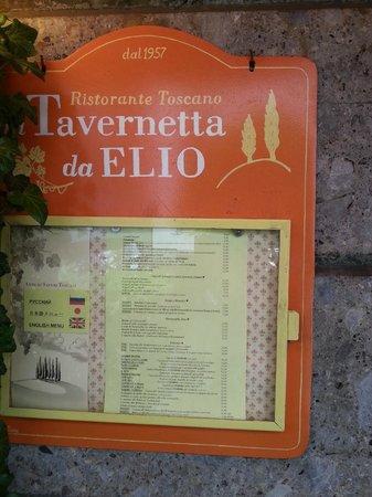 La Tavernetta da Elio: Menu on the outside