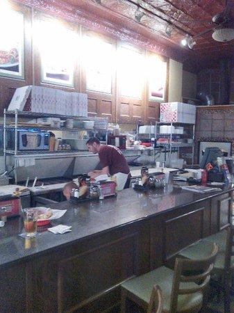 Atlas Brick Oven Pizzeria: The pizza prep area