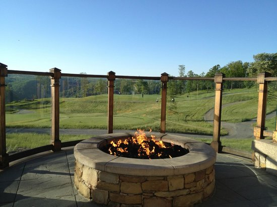 Primland: Fire pit outside on the terrace of the main lodge