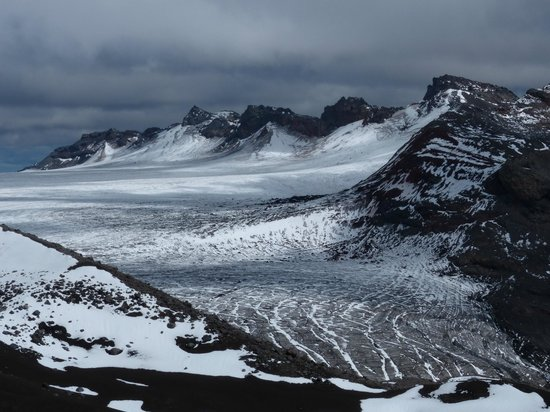 Andes White Day Tours: View from the top - massive glacier in the Sollipulli crater