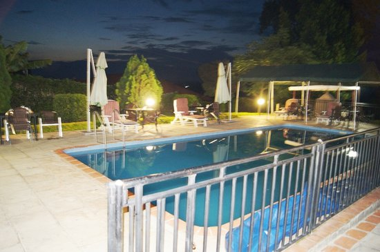 Fort Motel swimming pool as its gets dark
