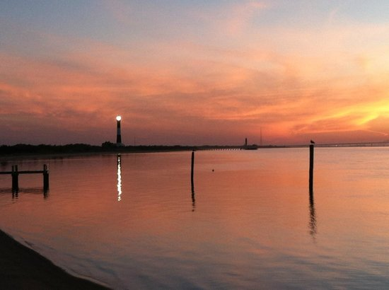 Fire Island Lighthouse: Lighthouse at sunset from Kismet dock