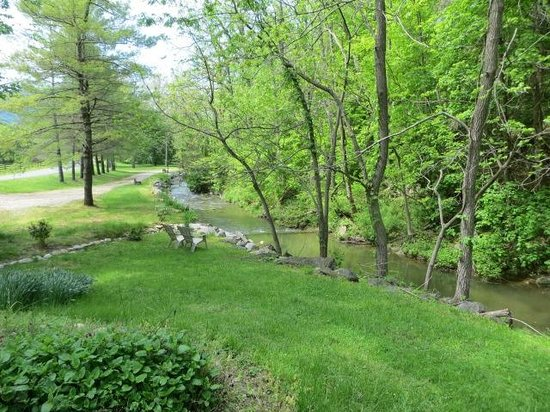 Osceola Mill Restaurant, B&B and Cabins: view of the stream and surrounding grounds