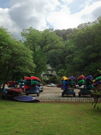 Turner Bend Outfitters: Canoes and rafts are ready.  Guides will van you up the river.