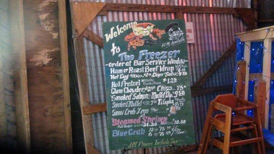 Homosassa, FL: The Freezer menu.