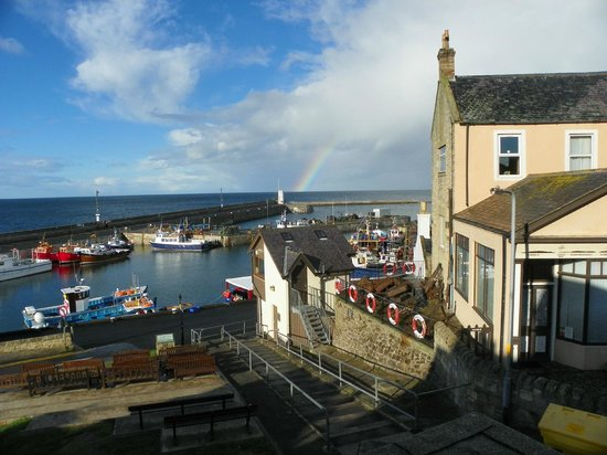 Seahouses, UK: Rainbow viewed from our window.