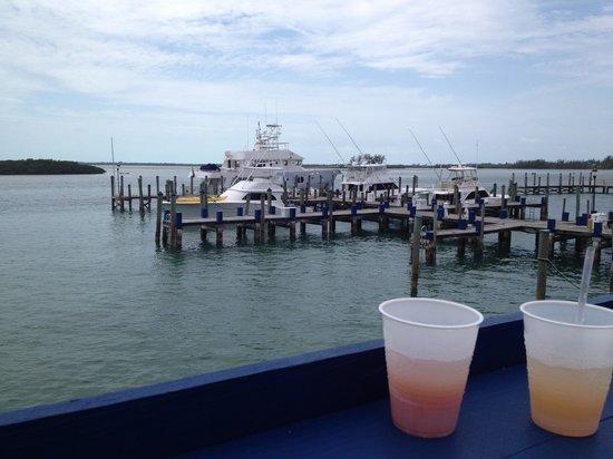 Bimini Big Game Club Resort & Marina: View of the marina from the restaurant