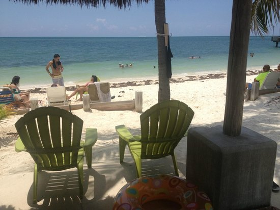 Key Colony Beach Motel: Chairs are under a tiki hut on the beach