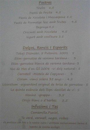 Restaurant La Cooperativa: Restaurante La Cooperativa Porrera The Menu