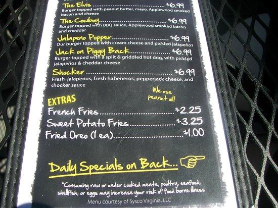 Jack Brown's Beer & burger Joint : A sampling of the menu
