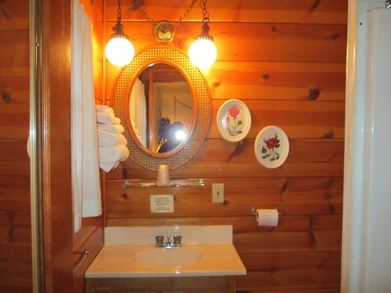 Pioneer Motel: wood paneled bathroom