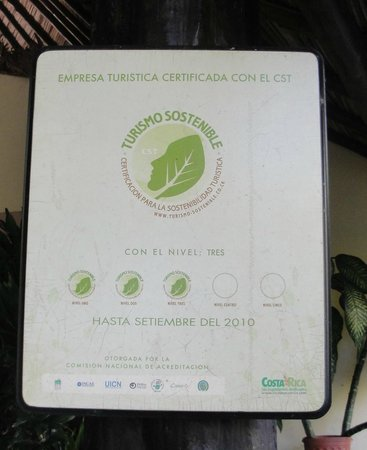 Sarapiquis Rainforest Lodge: 3 leaf rating for sustainable tourism!