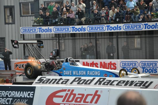 Santa Pod Raceway: Nitro flames from the headers during the launch