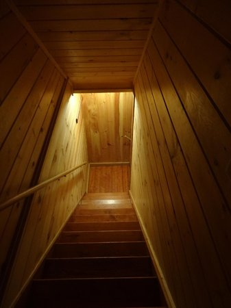 Hocking Hills Serenity Cabins: stairwell to lower level