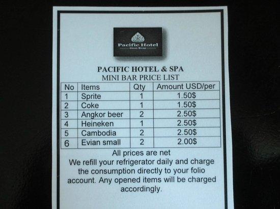 Pacific Hotel & Spa: moderate Preise Mini-Bar