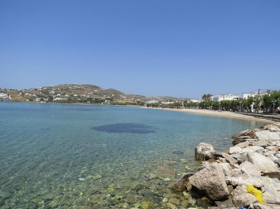 Pension Sofia: View of Paros bay, and hotel would be along road to the right