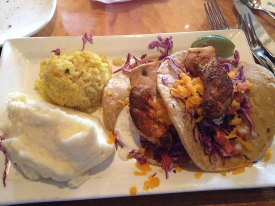 Brigantine Seafood Restaurant : Swordfish tacos, mashed potatoes and rice pilaf - Delish!
