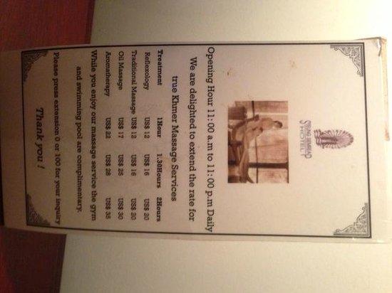Steung Siemreap Thmey Hotel: Massage menu