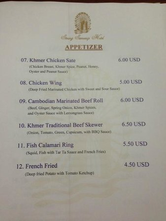 Steung Siemreap Thmey Hotel: Food menu for room service