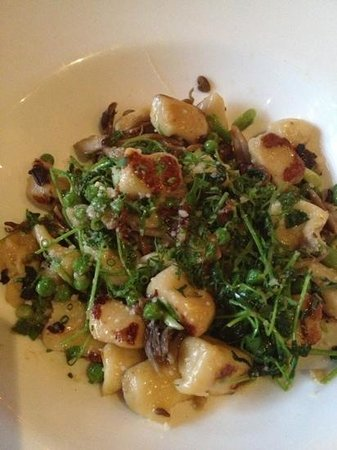 Proof: Gnocchi with peas, pea shoots. Excellent.
