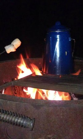 Silverwood Lake State Recreation Area: percolator coffee and smores to warm us up before bed