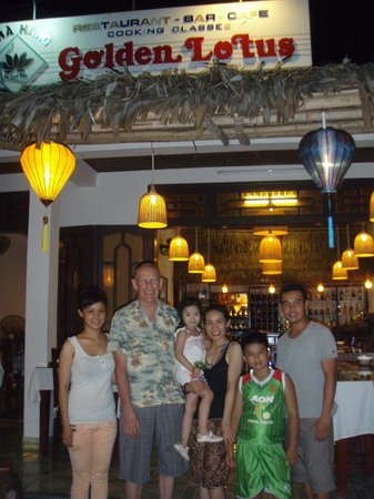 Linh and her family outside Golden Lotus Restaurant
