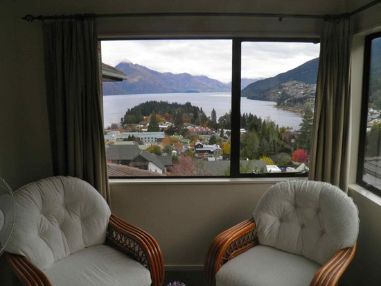 Balmoral Lodge: View to the lake from sitting area in room