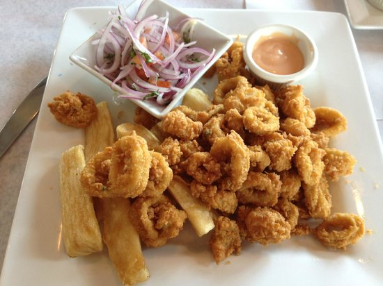 Cora Cora Resaurant: Fried Calamari with yukka fries and onion salad