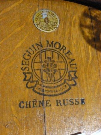 Sirromet Wines: One of the old barrells at the tasting mini-bar.