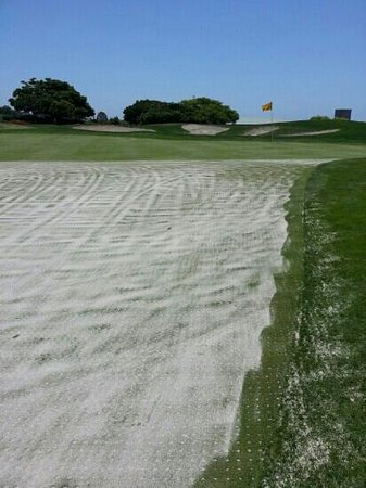 Encinitas Ranch Golf Course: 9th hole greens under repair, 5/28/13.