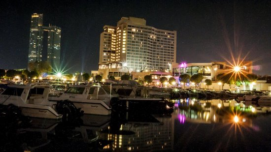 InterContinental Abu Dhabi: A view from the marina looking back on to the hotel.