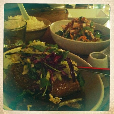 Red Spice Road: Pork Belly with Apple Slaw and Shredded Chicken Salad (back)