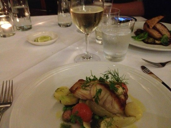 The Byron at Byron Resort & Spa: Today's fresh fish complemented with white wine.