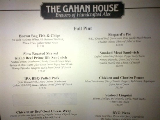 The Gahan House : More of the menu