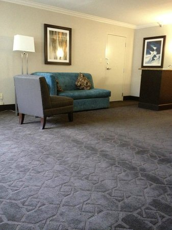Hilton Durham near Duke University: No coffee table in front of couch