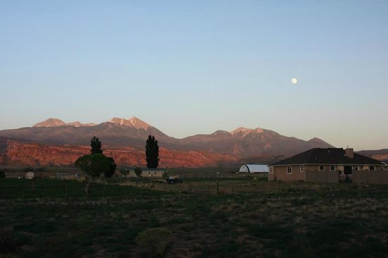 Morris' Last Resort: View from the back porch to the LaSal Mountains.