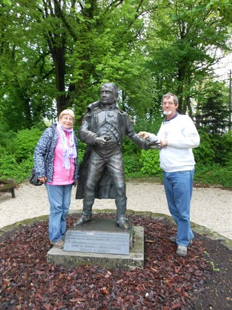 In The Footsteps Battlefield Tours: Posing with 'Napoleon' outside his Headquarters