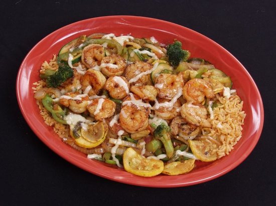 "El Patio: ""Mil Amores"" - Shrimp, rice and vegtable dish."