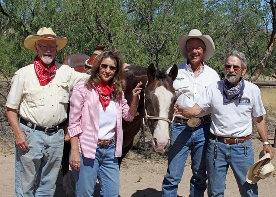 Triangle T Guest Ranch: Tom, Barb, Bad Dog, Clay and Stan after sunset ride