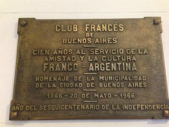 Hotel Club Frances: Plaque at entrance of club