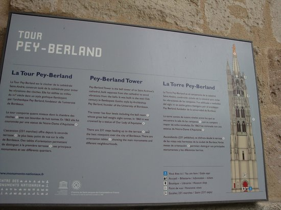 Tour Pey-Berland : Entrance Sign