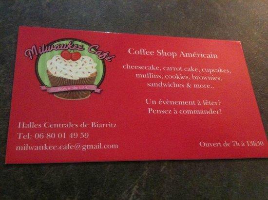 Milwaukee Cafe: business card